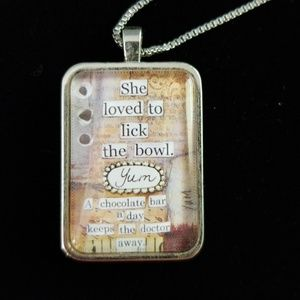 """Jewelry - Double-sided Tile Necklace Chocolate Glass 30"""""""
